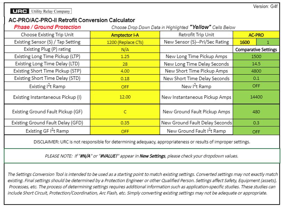 Settings Conversion Calculator